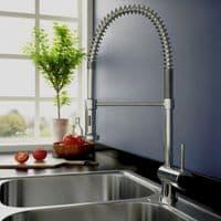 Jupiter Chrome Modern Kitchen Mixer Tap With Flexible Spray KTAP1